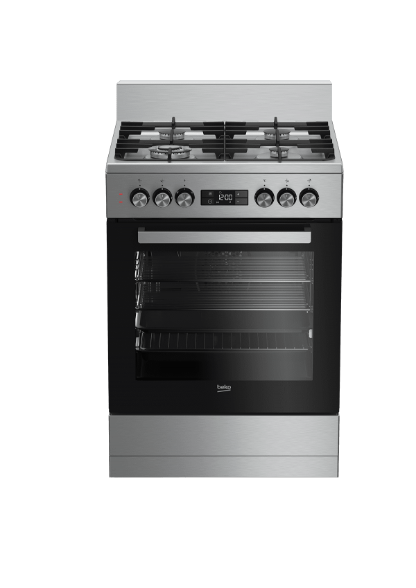 Beko 60cm Dual Fuel Freestanding Stainless Cooker - Factory Second   Sunshine Coast Washers and Fridges